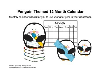 Penguin Themed 12 Month Calendar