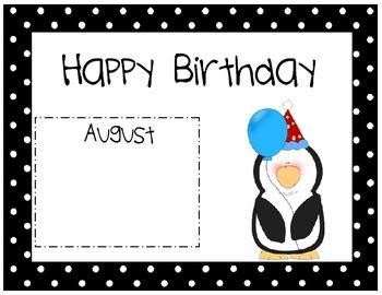 Penguin Themed Birthday Calendar