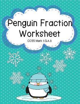 Fraction Worksheet with Penguin Theme