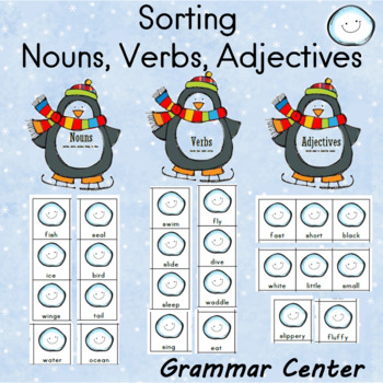 Penguin Themed Grammar Center for Sorting Verbs, Adjectives, and Nouns