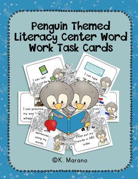 Penguin Themed Literacy Center Word Work Task Cards
