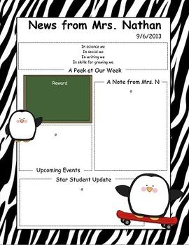 Penguin Themed Newsletter
