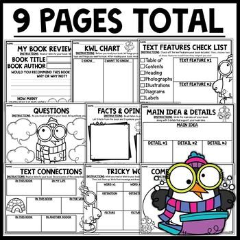 Penguin Themed Nonfiction Reading Response Worksheets