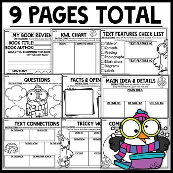 Penguin Themed Nonfiction Reading Response Worksheets