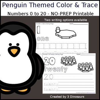 Penguin Themed Number Color and Trace