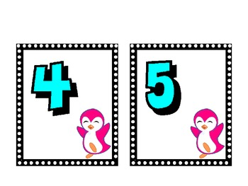 Penguin Themed Numbers Cards : (1-20)