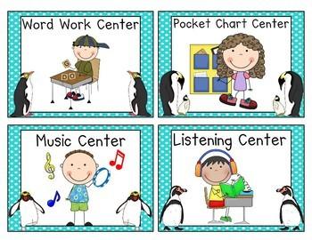 Penguin Themed Pocket Chart Center Cards