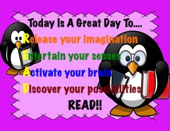 Penguin Themed Reading Poster