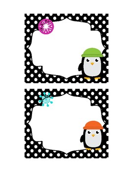 Penguin Themed Students Name Tags