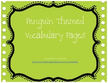 Penguin Themed Vocabulary Practice Pages