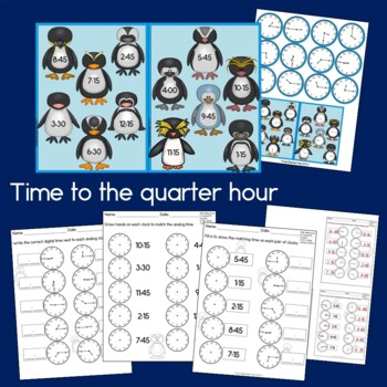 Penguin Time: Second Grade Math - Telling Time to the Nearest 5 Minutes