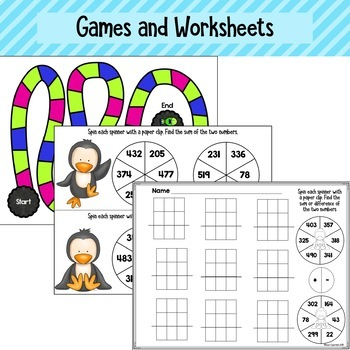 Three Digit Addition and Subtraction Task Cards and Activities