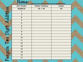 Penguin Two Digit Addition Word Problems (NO regrouping) - 4 Different Levels