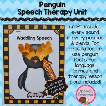 Penguin Speech Therapy Unit: Craftivity {Games Lesson Plans Activities}