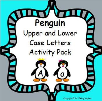 Penguin Upper and Lower Case Letters Literacy Center - letter matching
