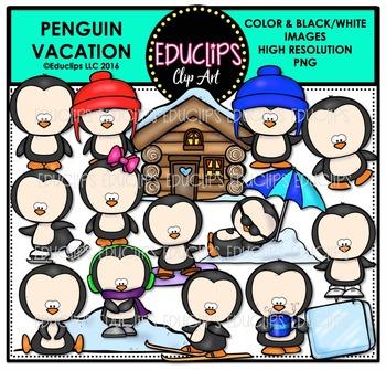 Penguin Vacation Clip Art Bundle  {Educlips Clipart}