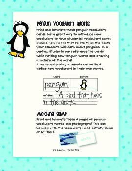Penguin Vocabulary Center + Matching Game