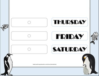 Penguin Weekday Chart! Penguin Bulletin Board! Penguin Theme! Penguin Days!
