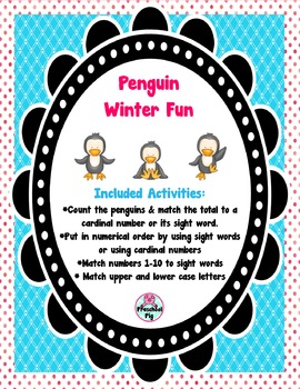 FREE Penguin Winter Fun Activities, Counting, Sight Words, Upper & Lower Case