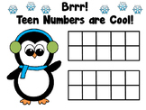 Penguin Winter Teen Ten Frame for Playdough or Manipulativ