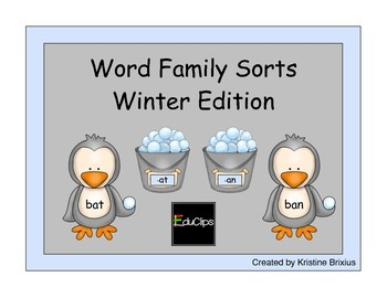 Penguin Word Families Sort - Winter Edition