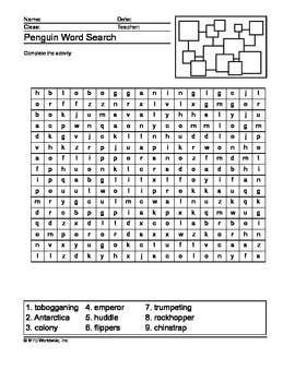 Penguin Word Search Printable