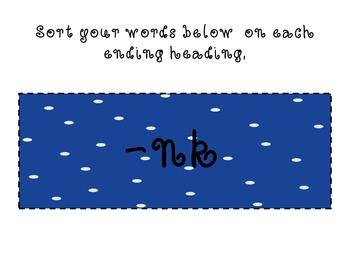 Penguin Word Sort -ng,-nd, -nk Endings