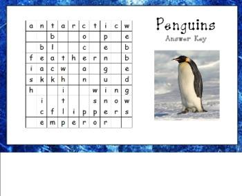 Penguin Wordsearch for Smart Board