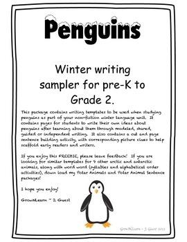 Penguin Writing and Sentence Builder - Polar Animal Sampler FREEBIE