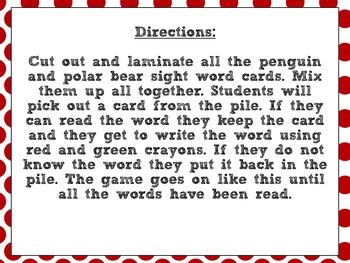 Penguin and Polar Bear Sight Words Game