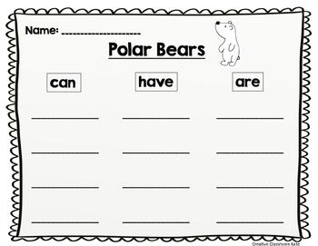 Polar Bear and Penguin Writing Sheets