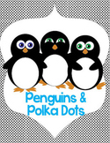 Penguin and Polka Dots Name and Cubby Tags