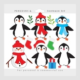 Penguin clipart - Christmas clip art, penguins, snowman, snowflakes winter