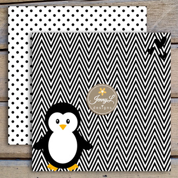 Penguin digital paper and clipart