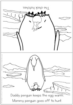 Penguin life cycle coloring booklet
