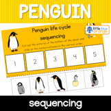 Penguin life cycle sequencing activity worksheet