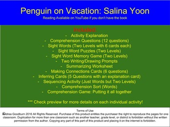 Penguin on Vacation - Salina Yoon, Comprehension Packet, Literacy Centers