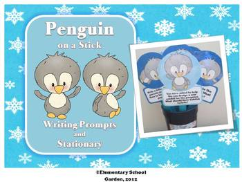 Penguin on a Stick - Winter Writing Prompts and Stationary