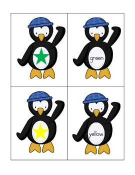 Penguin themed color and color word match