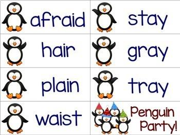 Penguins Literacy Game: Vowel Teams