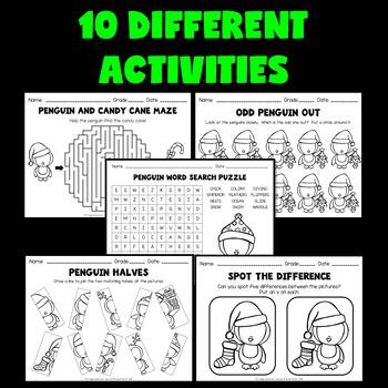 Christmas Worksheets (Penguin Activities for Kindergarten, 1st and 2nd Grade)