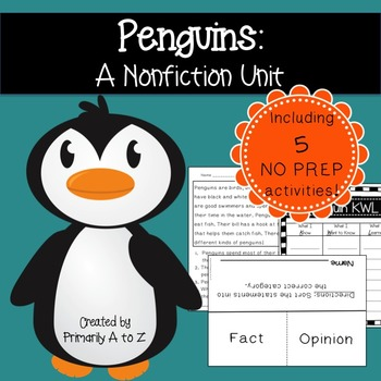 Penguins {KWL, Fact/Opinion, Comprehension, Mini-Book}