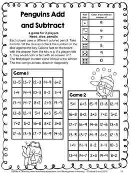 Penguins Math: NO PREP Addition and Subtraction Games for Winter Math Activities