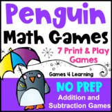 Penguin Math Games: NO PREP Addition and Subtraction Games: Winter Math Activity