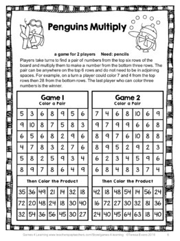 Winter Math Activities: Penguin Math NO PREP Multiplication and Division Games