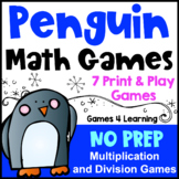 Winter Math Activity: NO PREP Penguin Math Games Multiplic