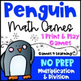 Winter Math Activity: NO PREP Penguin Math Games Multiplication and Division