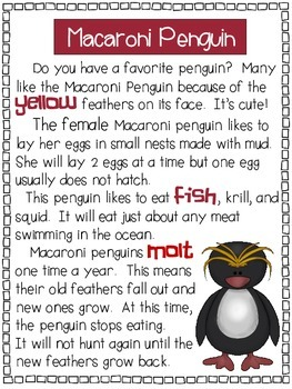 Penguins - A First Grade Literacy Center