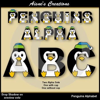 Penguins Alphabet & Numbers Clip Art Graphics