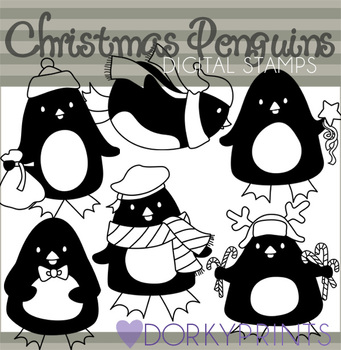 Penguins Black Line Art